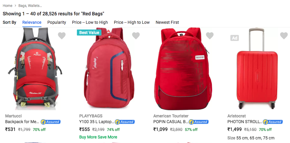 Search red bags in ecommerce website