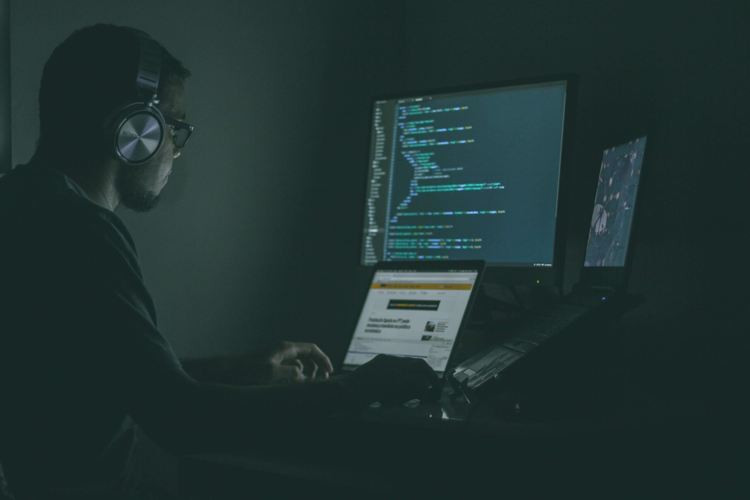 image of a person working on cybersecurity